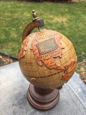 "Small Vintage 8"" Tall Desktop World Globe w/ Relief, Wood Base, Made In Italy"