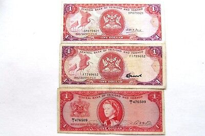 THREE  TRINIDAD AND TOBAGO DOLLAR NOTES KP#26b AND KP#36b &c