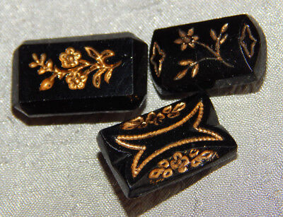 Lot of Antique Vintage Black Glass Button w/ Gold Luster Flowers #309-A