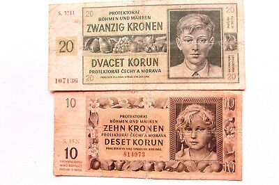 TWO 1942-44 ISSUE BOHEMIA & MORAVIA  KORUN NOTES  KP#9a, KP#8a.