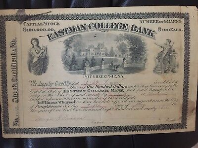 Eastman College Bank stock certificate
