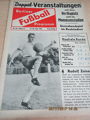 Programm Hertha BSC : Wacker 04 (u.a.) - 17. September 1960