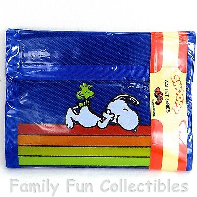 PEANUTS~1980s Aviva~Canvas Wallet~Snoopy & Woodstock~Velcro Closure~NEW MIP