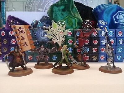 Heroscape - Flag Bearers Lot - Crest of the Valkyrie - 5 Figures + 65 Dice, Bags
