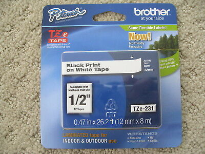 "New Brother P-Touch Tze-231 1/2"" Black Print White Tape Tze231 Free Shipping!!!!"