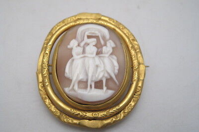 Antique Victorian Pinchbeck Gold Plated 3 Graces Carved Shell Cameo Brooch
