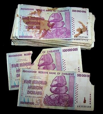 33 x Zimbabwe 500 million dollar banknotes-2008/DAMAGED/POOR CONDITION CURRENCY