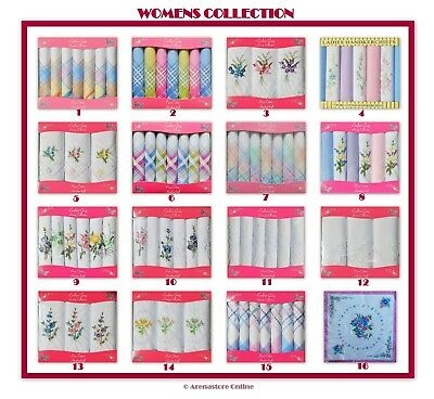 Ladies Handkerchiefs 100% Cotton With Embroidery Various Designs Boxed Gift Pack