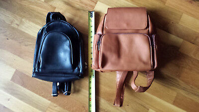 Lot of 2 leather packpack purses 1 new brown Le Donne and 1 black used no name