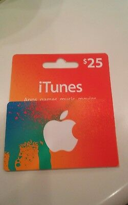 apple itunes $25 gift card brand new unused mail only