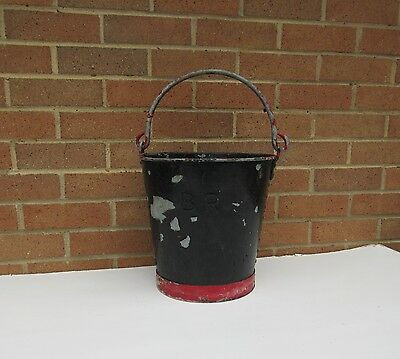 vintage heavy old BR British Rail ? galvanised metal fire bucket garden planter.