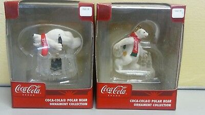 2 Retired Coca Cola Polar Bear Christmas Ornament Bowling & Igloo w/ Coke Bottle