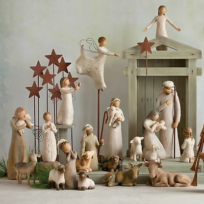Shepherd little Animals Nativity Set Willow Tree Christmas Camel Sheep Calf XMAS