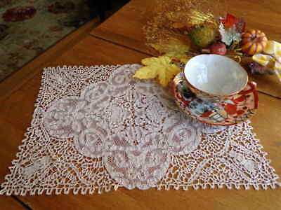 Antique Handmade Italian Figural Needle Lace and Tape Lace Small Tablecloth Mat
