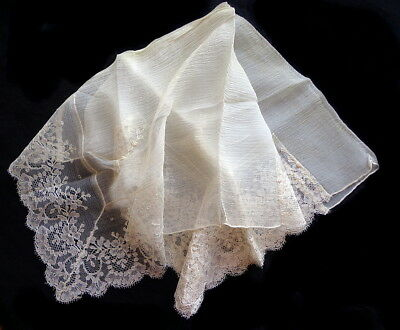 Unusual Antique Hankie:  Lace Insertions on Cream Silk -An Estate Find - #3 of 4
