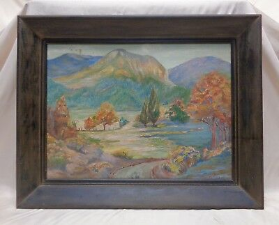 1939 Lincoln Panoramic Mountainous Landscape Oil Painting on Canvas Panel