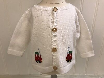 LITTLE ENGLISH NWT Boys White Red Green Blue Black Train Cardigan Sweater