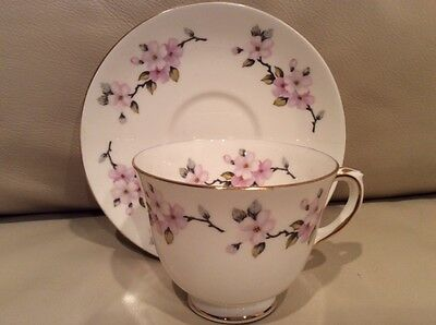 Crown Staffordshire F16520 Footed Cup & Saucer Fine Bone China Made in England