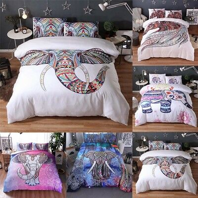 Elephant Mandala Duvet Quilt Cover+Pillow Case Bedding Set King Queen Twin Size