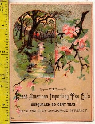 Vintage 1880s Victorian Trade Card Great American Importing Tea Co San Francisco