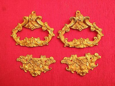 Antique Ornate Brass Rococo Hardware Drawer Pulls & Furniture  Embellishment