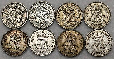 Lot Of 8 Great Britain Silver Sixpence 1929-1942 Nice High Grades Included!
