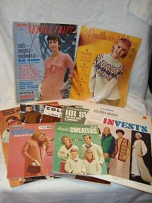 Lot of 9 Vintage Knitting/Crochet Pattern Books/Magazines Coats/Sweaters/Vests