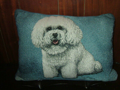 Nwot Bichon Tapestry Pillow With Blue Background - By Linda Pickens