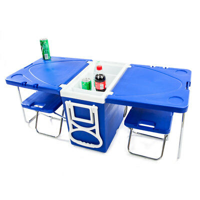Multi Function Rolling Cooler Picnic Camping Outdoor w/ Table & 2 Chairs Blue US