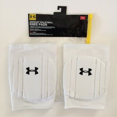 Under Armour Volleyball Knee Pads L XL White Heatgear NEW Retail $24.99