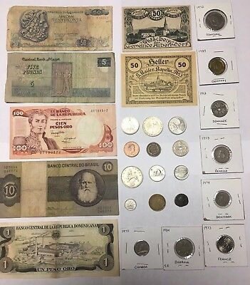 A Man's Collections Huge JUNK DRAWER Lot Foreign Coins Paper Money Bills  Notes