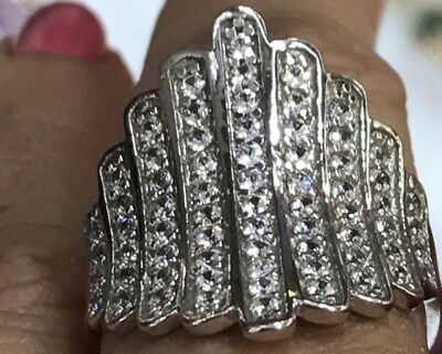 14k SOLID vintage white gold ring manmade diamond 4.5g wide S 7 5689