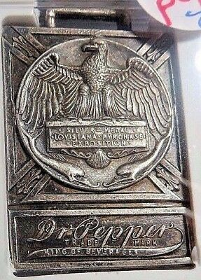 (1904) Louisiana Expo - Dr. Pepper  Fob -  H-19-30 - Silvered Brass - Ngc  Ms-61