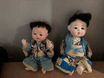 VINTAGE/ANTIQUE  ASIAN  CHINESE COMPOSITION DOLLS Boys