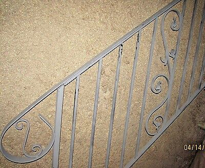 """Iron Handrail 4 ft Solid 1/2"""" Bars Forged Scrolls"""