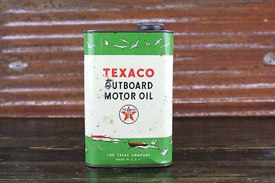 Vintage Texaco Outboard Motor Oil Square Quart Can