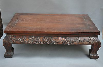old Chinese Rosewood wood Hand carved Peony flowers Desk Tea table Writing desk