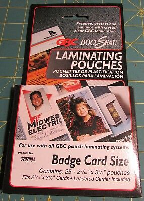 25 Pack 3202004 GBC HeatSeal UltraClear Thermal Laminating Pouches 5 Mil Badge//ID Card Size