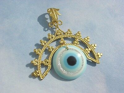 Gold Plated Roman Ancient Vintage Greek Turquoise Evil Eye Pendant Necklace