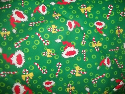 Dr. Seuss The Grinch Christmas fabric 1 1/2 yds New Cotton santa hats candy cane