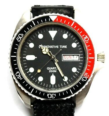 Vintage New Old Stock Mens Innovative Time Diver Watch Tropic Band Pepsi Dial