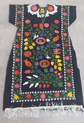 Uzbek Style Dress Hand Made From Vintage Velour Suzani < 2x >