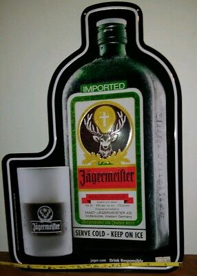"""New Jagermeister with Glasss Metal Tin Bar Sign Man Cave Game Room 10×14 3/4"""""""