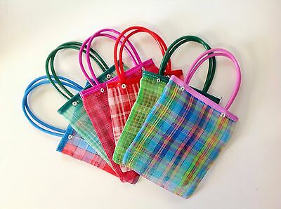 "Set of 10 Mexican Market Bags Small Mercado Goodie Bags 7.X7"" Candy Bags Treat"