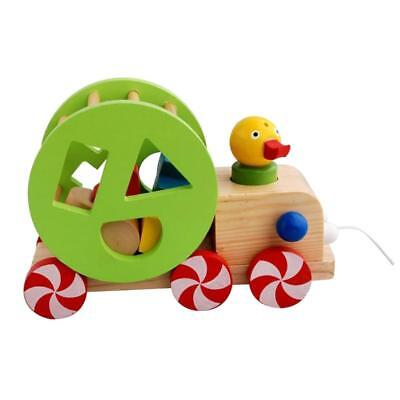 Kids Baby Developmental Wooden Toy Pull Car Duck Rope Set Creative Xmas Gift