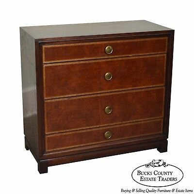 Tommi Parzinger for Charak Modern Mahogany Leather Front Chest of Drawers
