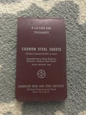 Vintage American Iron and Steel Institute Carbon Steel Sheets 1960