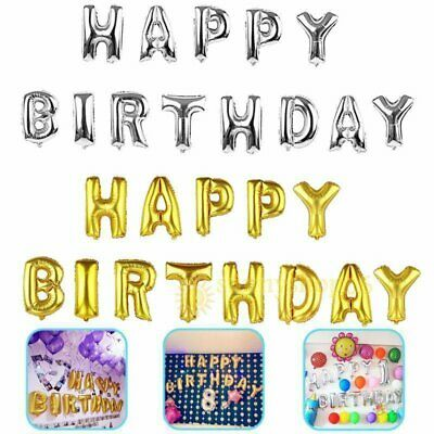 "16"" Large HAPPY BIRTHDAY Balloons Letter Banner Bunting Party Decoration 13Pcs"