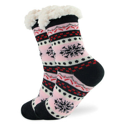 Womens Thick Knit Sherpa Lined Cozy Thermal Fuzzy Slipper Socks With Grippers