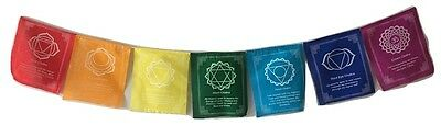 1 Roll 100% Cotton Healing Chakra Positive Affirmation Flags 7 Colours/7Mantras